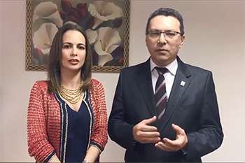 Presidente do CorenSP, Dra. Renata Pietro e o presidente do CRF-SP, Dr. Marcos Machado